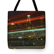 Night Shot Of Downtown Los Angeles Skyline From 6th St. Bridge Tote Bag