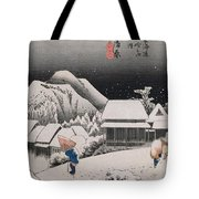 Night Snow Tote Bag by Hiroshige