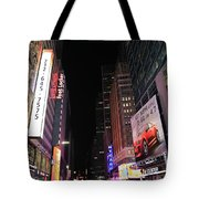 Night Time At Times Square Tote Bag
