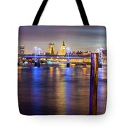 Night View Of Hungerford Bridge And Golden Jubilee Bridges London Tote Bag