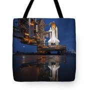 Night View Of Space Shuttle Atlantis Tote Bag by Stocktrek Images