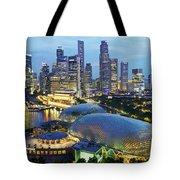 Night View Of The Esplanade And Central Tote Bag