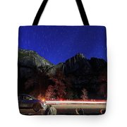 Night View Of The Upper And Lower Yosemite Fall Tote Bag