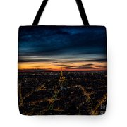 Night View Over Paris With Eiffel Tower Tote Bag