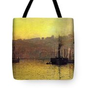 Nightfall In Scarborough Harbour Tote Bag
