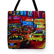 Nightlights On Main Street Tote Bag