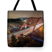 Nighttime Boats Cruise Up And Down The Loop 360 Bridge, A Boaters Paradise With Activities That Include Boating, Fishing, Swimming And Picnicking - Stock Image Tote Bag