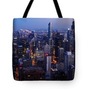 Nighttime Chicago Skyline Tote Bag by Kyle Hanson