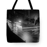 Nighttime Street Scene With Traffic Tote Bag