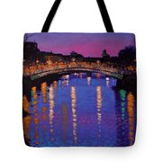 Nighttown Ha Penny Bridge Dublin Tote Bag by John  Nolan