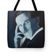 Nikola Tesla - Blue Portrait Tote Bag