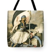 Nikolakis Mitropoulos Raises The Flag With The Cross At Salona On Easter Day 1821 Tote Bag