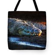 Nile Crocodile On Riverbank-1 Tote Bag