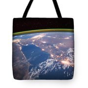 Nile River At Night From Iss Tote Bag