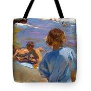 Ninos En La Playa. Valencia Tote Bag
