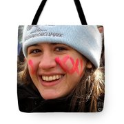 No Kxl Face Paint At Political Demonstration Tote Bag