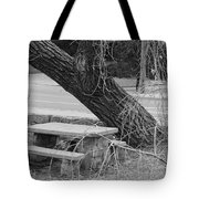 No One Sits Here In Black And White Tote Bag