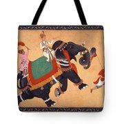 Nobleman Riding Elephant Tote Bag