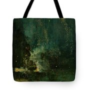 Nocturne In Black And Gold - The Falling Rocket Tote Bag