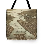 Norfolk And Portsmouth Map Tote Bag