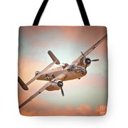 Pacific Princess North American B-25 Mitchell Across Rosy Skies Tote Bag