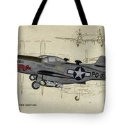 North American F-82b Twin Mustang - Profile Art Tote Bag