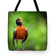 North American Robin In Song Tote Bag