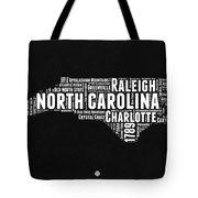 North Carolina Black And White Word Cloud Map Tote Bag