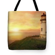 North Head Lighthouse At Sunset Tote Bag