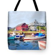 North Shore Art Association At Pirates Lane On Reed's Wharf From Beacon Marine Basin Tote Bag