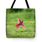 Northern Cardinal In Flight Tote Bag