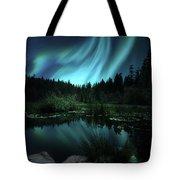 Northern Lights Over Lily Pond Tote Bag