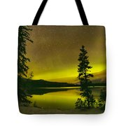 Northern Lights Over The Pines Tote Bag