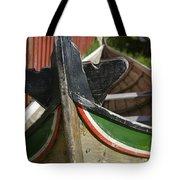 Norway, Reine, Boat In Fishing Village Tote Bag