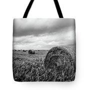 Nostalgia - Hay Bales In Field In Black And White Tote Bag