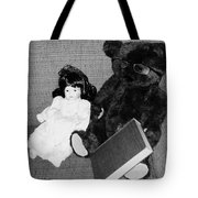 Nostalgic Doll And Bear With Reading Book Tote Bag