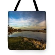 Nostalgic Landscape With Narew River  Tote Bag by Julis Simo