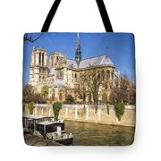 Notre Dame And The Seine Painterly Tote Bag