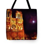 Notre Dame In The Autumn Moonlight Tote Bag