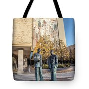 Notre Dame Library And Statue Tote Bag