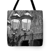 Notre Dame Street Lights Paris France Black And White Tote Bag