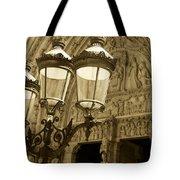 Notre Dame Street Lights Paris France Sepia Tote Bag