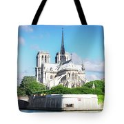 Notre Dame Over Water Tote Bag