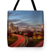 November Sun Setting Over Charlotte North Carolina Skyline Tote Bag