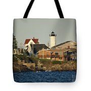 Nubble Light House Beach View Tote Bag