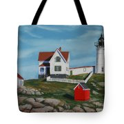Nubble Light House Tote Bag by Paul Walsh
