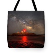 Nubble Light Milky Way Rising Tote Bag