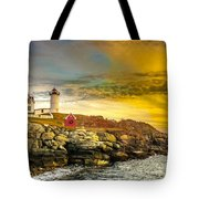 Nubble Lighthouse At Sunset Tote Bag