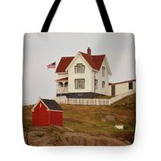 Nubble Lighthouse Shed And House Tote Bag