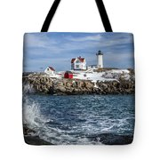 Nubble Lighthouse Winter Tote Bag